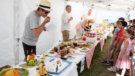 Judges inspect jams, pies and fruit creations. Picture: Jonathan Goldberg