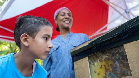 Omar Osman, nine, looks at bees that are kept in Queen's Park, with beekeeper Sharon Essow. Picture: