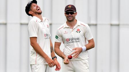 Lancashire's James Anderson (right) shares a laugh with Tom Bailey