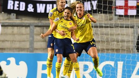 Arsenal's Danielle Van De Donk celebrates scoring her side's first goal of the game during the Barcl
