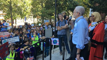 Jeremy Corbyn MP and Cllr Rakhia Ismail at the global climate strike on the steps of Islington town