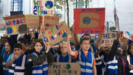 Children from Canonbury Primary School at Friday's climate strike. Picture: Freya Pickford