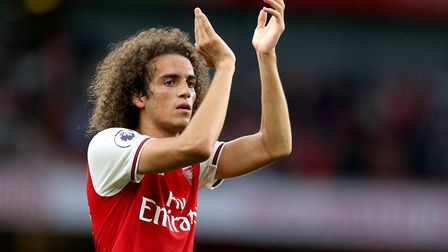 Arsenal's Matteo Guendouzi applauds the fans at the end of the Premier League match at the Emirates