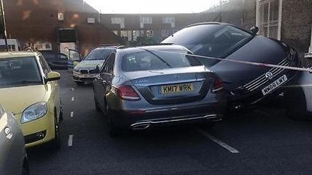 Crash at junction of Roman Way and Sheringham Road. Picture: MEG HOWARTH