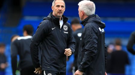 Eintracht Frankfurt manager Adi Hutter (left) during a training session at Stamford Bridge (Pic: Mik