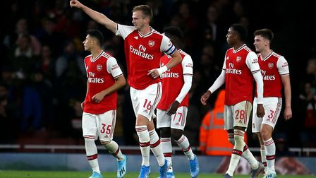 Arsenal's Rob Holding celebrates scoring his sides second goal during the Carabao Cup, Third Round m