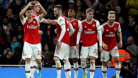 Arsenal's Gabriel Martinelli (left) celebrates scoring the opening goal during the Carabao Cup, Thir