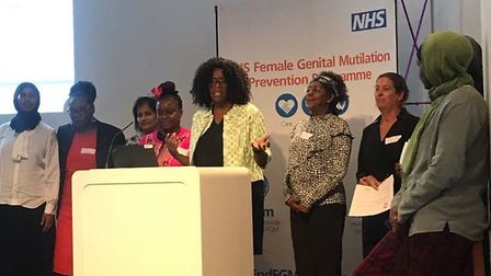 Grace Narty, FGM lead at the London North West University Healthcare NHS Trust, speaking at the laun
