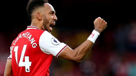 Arsenal's Pierre-Emerick Aubameyang celebrates the final result at the end of the Premier League mat