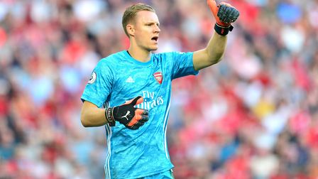 Arsenal goalkeeper Bernd Leno during the Premier League match at Anfield, Liverpool. Picture: Anthon