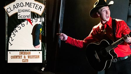 James Thackeray and the Clap-o-meter. Picture: Adam Trigg.