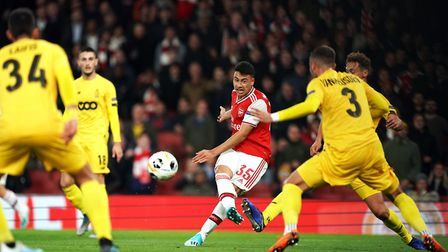 Arsenal's Gabriel Martinelli scores his side's second goal of the game during the UEFA Europa League