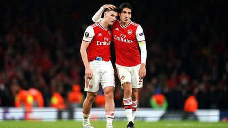 Arsenal's Kieran Tierney (left) and Hector Bellerin after the UEFA Europa League Group F match at th