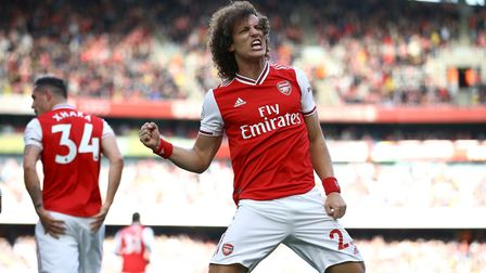 Arsenal's David Luiz celebrates scoring his sides first goal of the game during the Premier League m