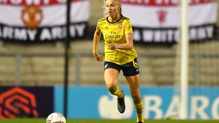 Arsenal's Leah Williamson in action during the Barclays FA Women's Super League match at Leigh Sport