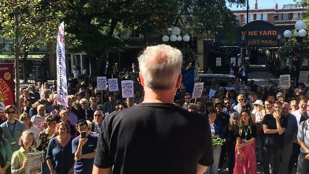 Hundreds assembled at Islington Town Hall for as part of the Global Climate Strike protests. Picture