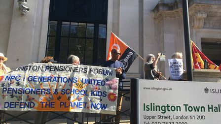 Protestors at Global Climate Strike rally at Islington Town Hall. Pictrue: Lucas Cumiskey