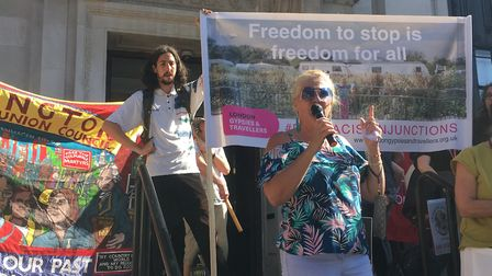 Mena Mongan from London Gypsies and Travellers speaking at climate rally outside Islington Town Hall