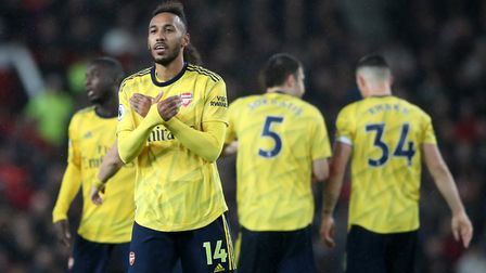 Arsenal's Pierre-Emerick Aubameyang celebrates scoring his side's first goal of the game after a VAR