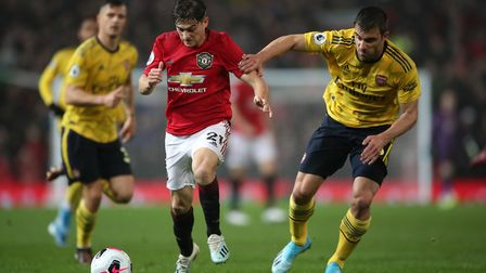 Manchester United's Daniel James in action during the Premier League match at Old Trafford, Manchest