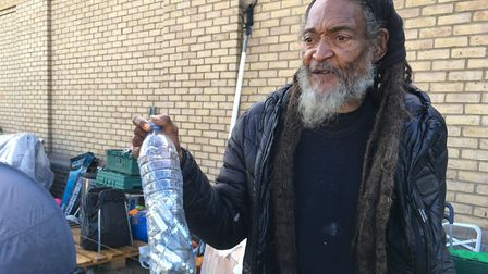 George Singleton collects littered Nitrus Oxide cannisters. Picture: Lucas Cumiskey