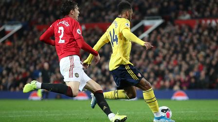 Arsenal's Pierre-Emerick Aubameyang scores his side's first goal of the game during the Premier Leag