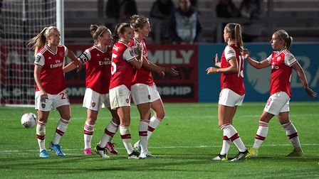 Arsenal's Vivienne Miedema celebrates scoring her side's second goal during the UEFA Women's Champio