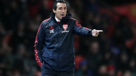 Arsenal manager Unai Emery during the Premier League match at Old Trafford, Manchester. Picture: Nic