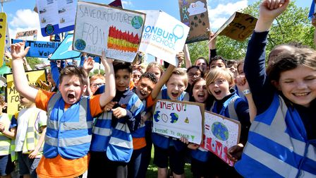 Children from Islington Primary Schools united to protest about action on Climate Change earlier thi
