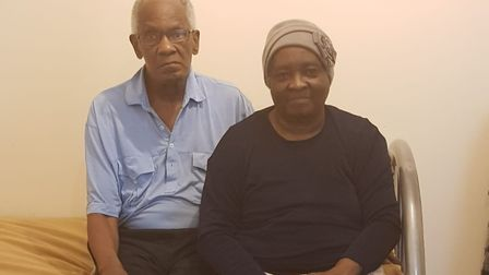 Harold and Loleta O'Dell in temporary accommodation after their flat flooded. Picture: Randell O'Del
