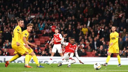 Arsenal's Joe Willock scores his side's third goal of the game during the UEFA Europa League Group F