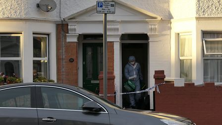 A forensics officer in Ambleside Road, Harlesden. Picture: David Nathan