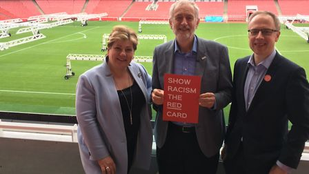 From left: Emily Thornberry, Jeremy Corbyn and Cllr Richard Watts. Picture: Lucas Cumiskey