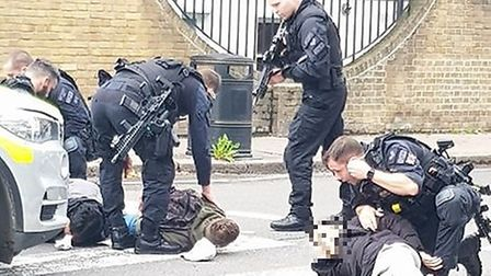 Armed police detain students in Highbury Grove. Picture: Alex Boyt