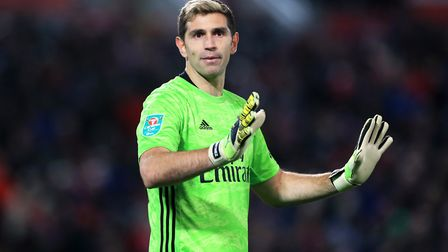 Arsenal goalkeeper Emiliano Martinez during the Carabao Cup, Fourth Round match at Anfield, Liverpoo