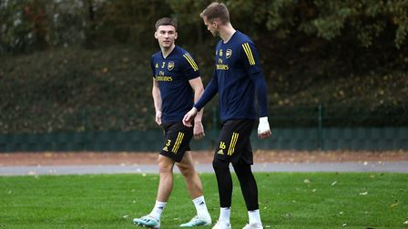 Arsenal's Kieran Tierney (left) and Rob Holding during a training session at London Colney