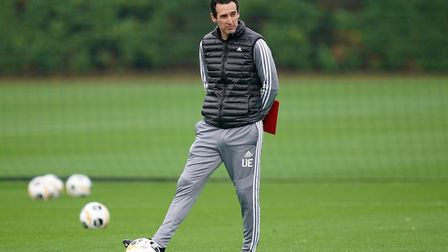 Arsenal manager Unai Emery during a training session at London Colney, London. Picture: John Walton/