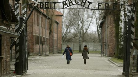 A general view of the gates at Auschwitz taken for International Holocaust Memorial Day. Picture: Da