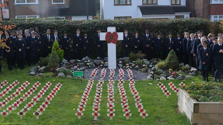 Staff and pupils gathered for St Gregory Catholic Science College Remembrance Day commemorations