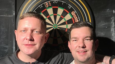 Miles Fairhurst & Paul Forbes of N19 in the Archway Darts League. Picture: James Martin