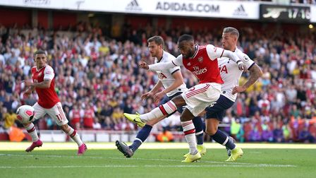 Arsenal's Alexandre Lacazette scores his side's first goal of the game during the Premier League mat