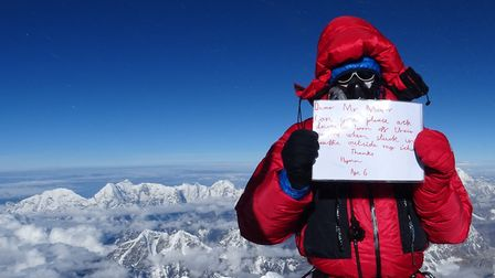 David O'Brien on top of Mount Everest with a message from his son to the Mayor of London