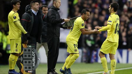 Villarreal's Santi Cazorla is substituted on during the UEFA Europa League, Group G match at Ibrox S