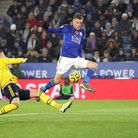 Leicester City's Jamie Vardy has a chance on goal during the Premier League match at the King Power