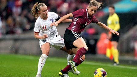 England's Beth Mead (left) and Germany's Kathrin Hendrich battle for the ball during the Women's Int