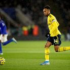 Arsenal's Pierre-Emerick Aubameyang in action during the Premier League match at the King Power Stad