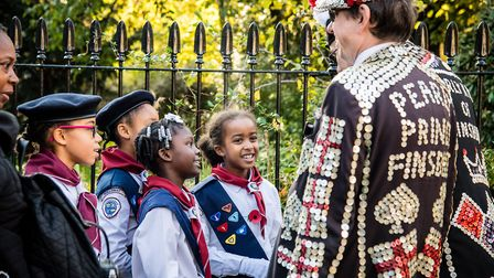 The Pearly King and Queen meet some Girl Guides. Picture: Em Fitzgerald
