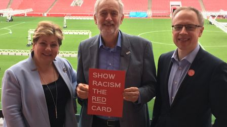 Emily Thornberry, Jeremy Corbyn and Cllr Richard Watts at a Hate Crime Awareness event. Picture: Luc