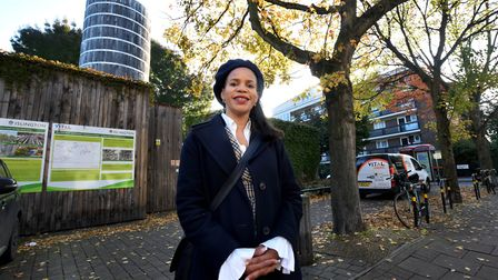 Cllr Claudia Webbe outside the Bunhill Energy Centre on Central St. Picture: Polly Hancock