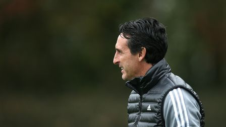 Arsenal manager Unai Emery during the training session at London Colney, London. Picture: Steven Pas